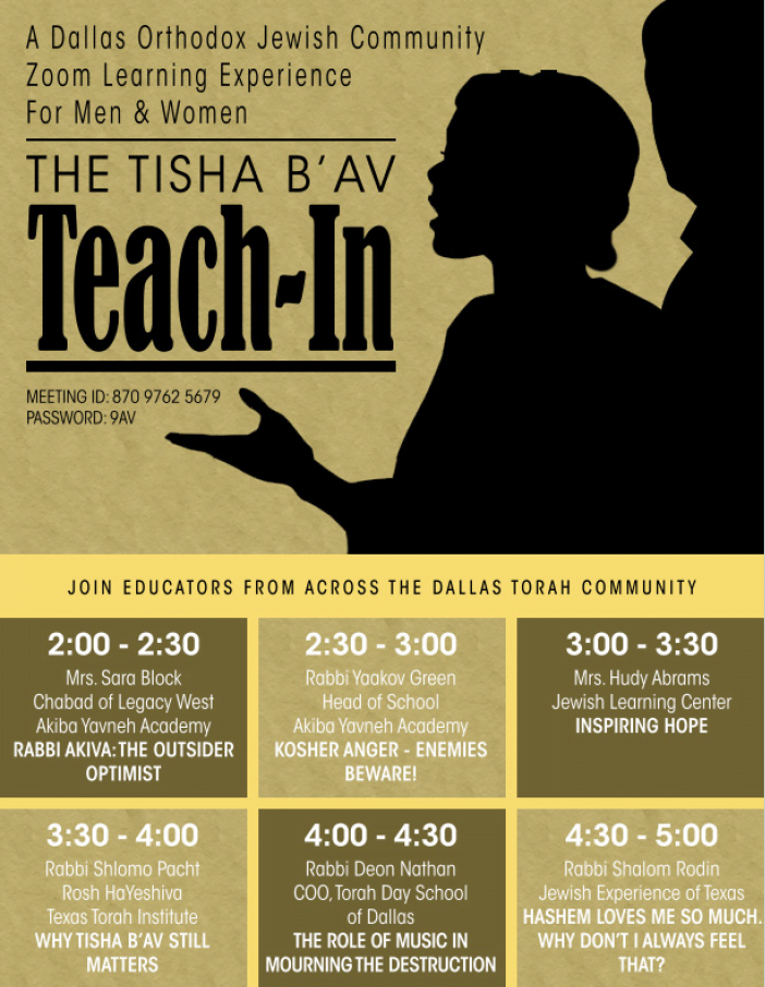 A Dallas Orthodox Jewish Community Zoom Learning Experience For Men & Women: The Tisha B'Av Teach-In 2