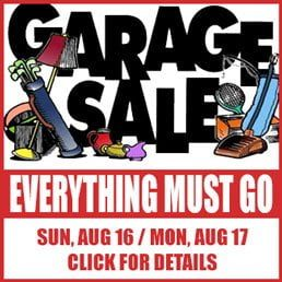 Garage Sale: Sunday, August 16 & Monday, August 17