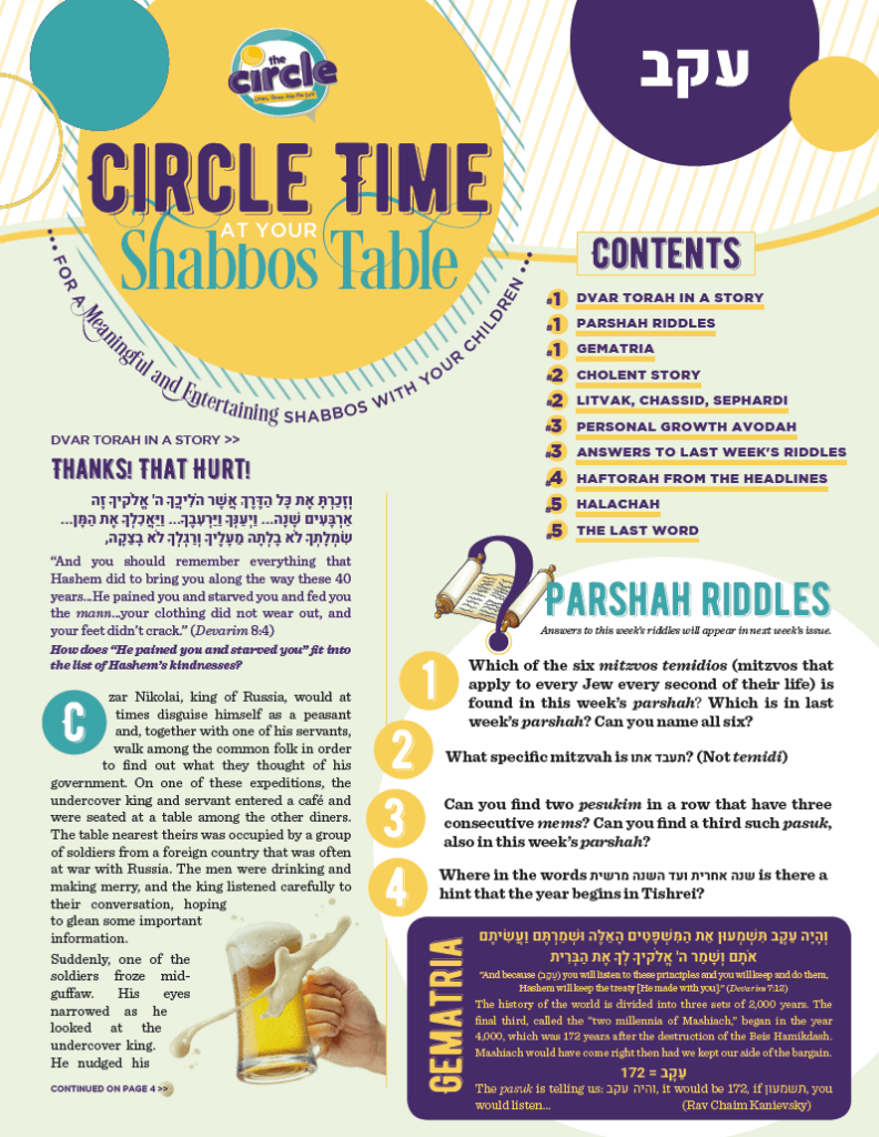 Circle Time At Your Shabbos Table: Parshas Eikev 1