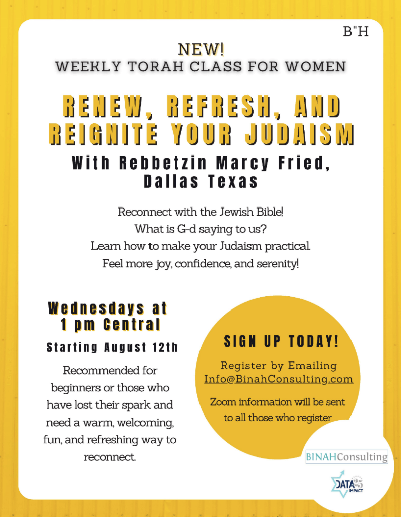 New! Weekly Torah Class for Women: Renew, Refresh, and Reignite Your Judaism with Rebbetzin Marcy Fried 1