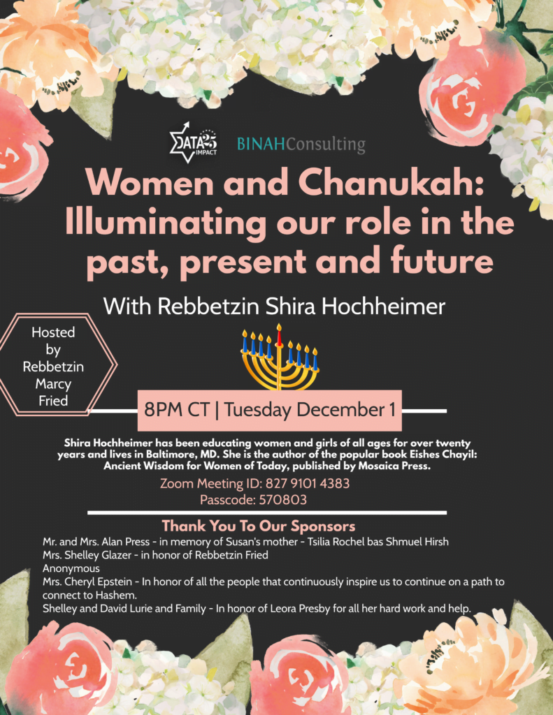 Women and Chanukah: Illuminating Our Role in the Past, Present and Future 1