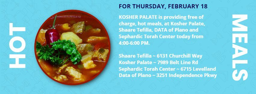 Hot Meals for Thursday, February 18, from Kosher Palate 1