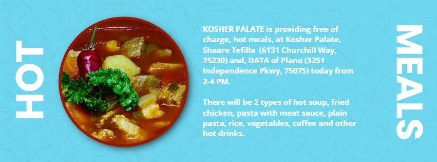 From Kosher Palate: FREE Hot Meals For Those Who Need, Today 2-4 PM 1