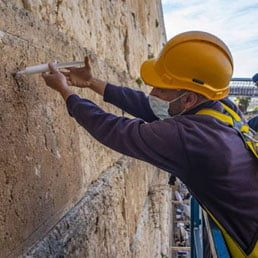 Western Wall Stones Get 'Injection' Before Passover