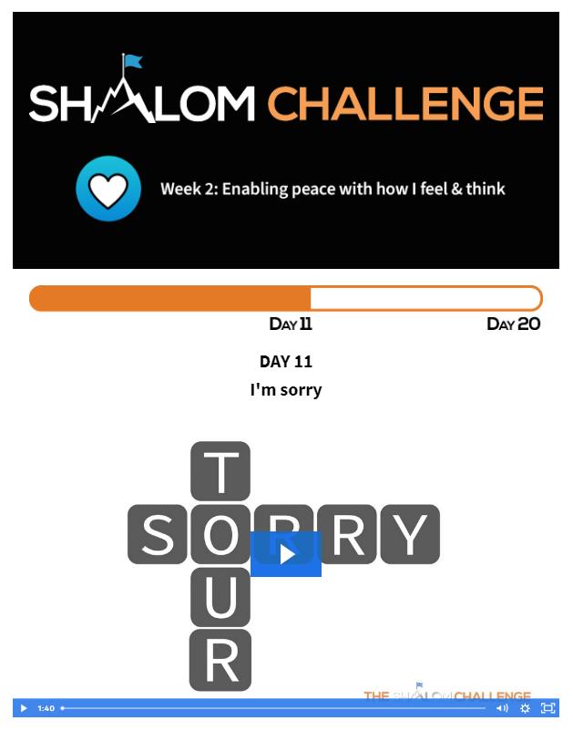 CCHF Shalom Challenge Day 11: I'm Sorry 1