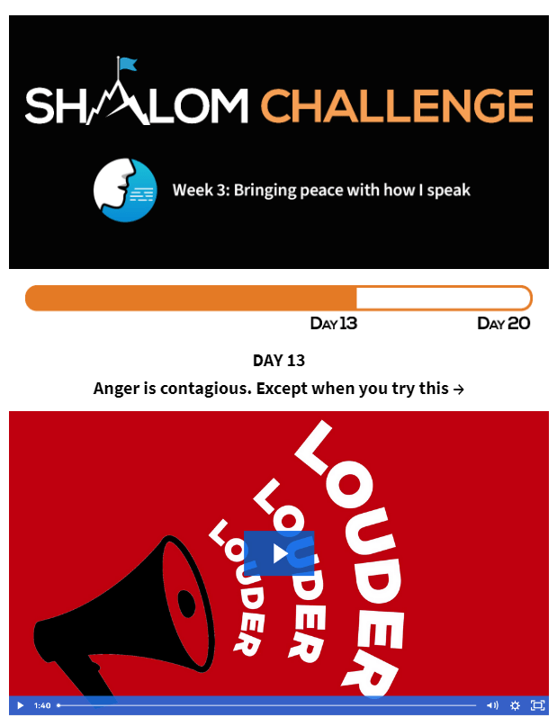 CCHF Shalom Challenge Day 13: Anger is contagious. Except when you try this... 1