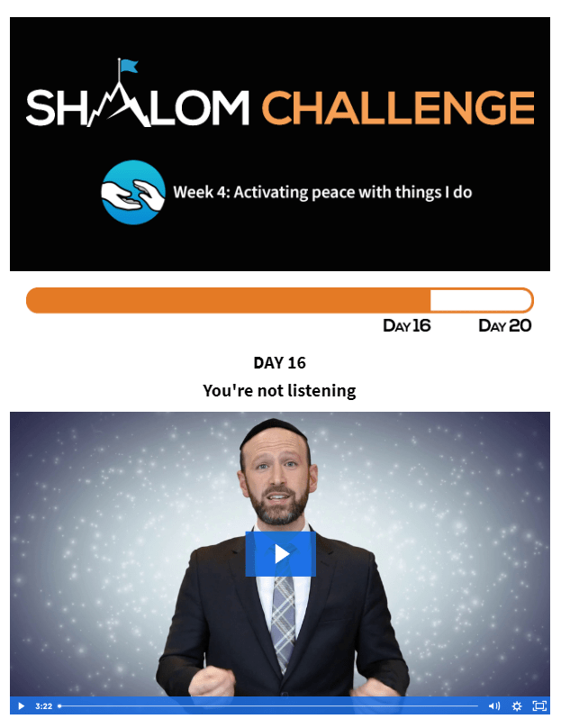 CCHF Shalom Challenge Day 16: You're not listening 1