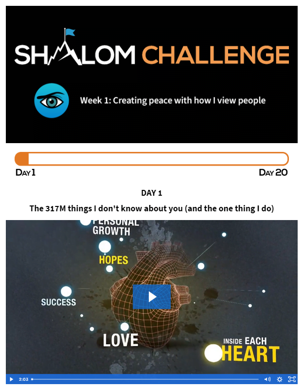 Shalom Challenge Day One: The 317M Things I Don't Know About You (and the one thing I do) 1