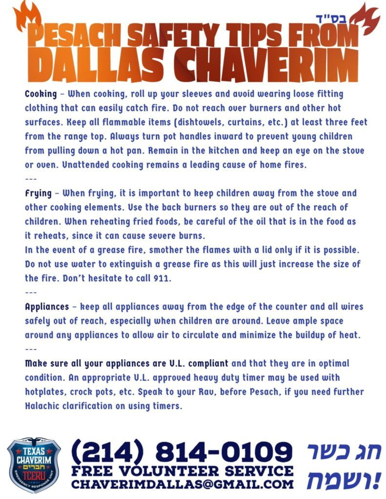 Pesach Safety Tips from Dallas Chaverim 2