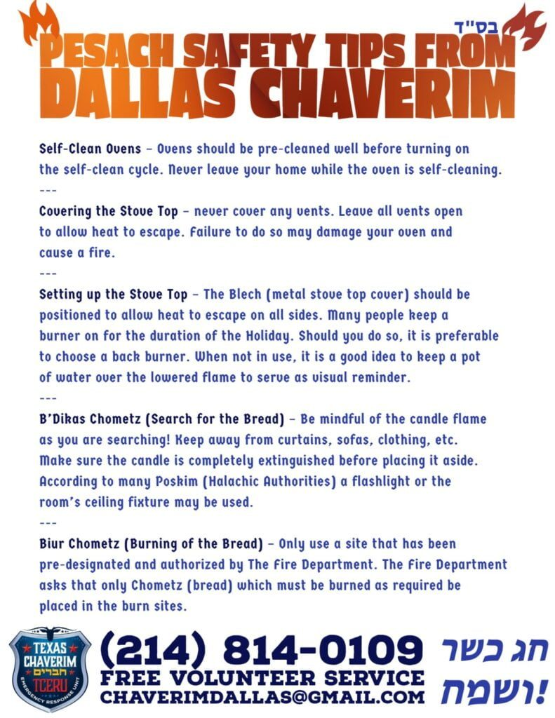 Pesach Safety Tips from Dallas Chaverim 3