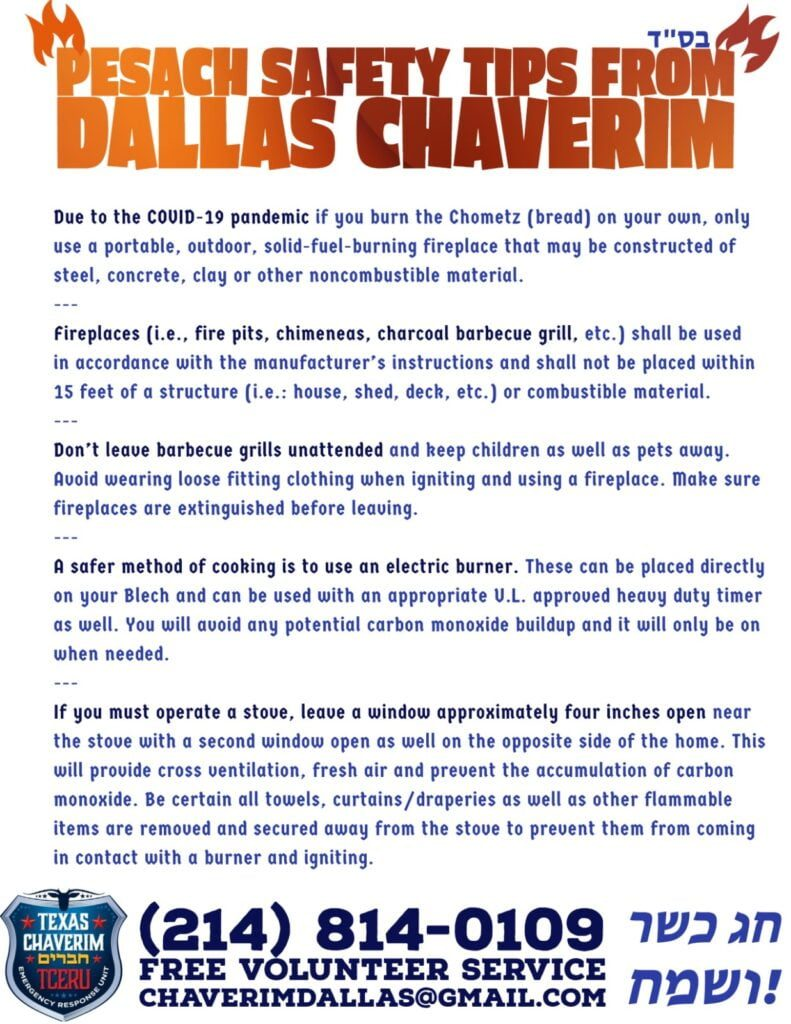 Pesach Safety Tips from Dallas Chaverim 4