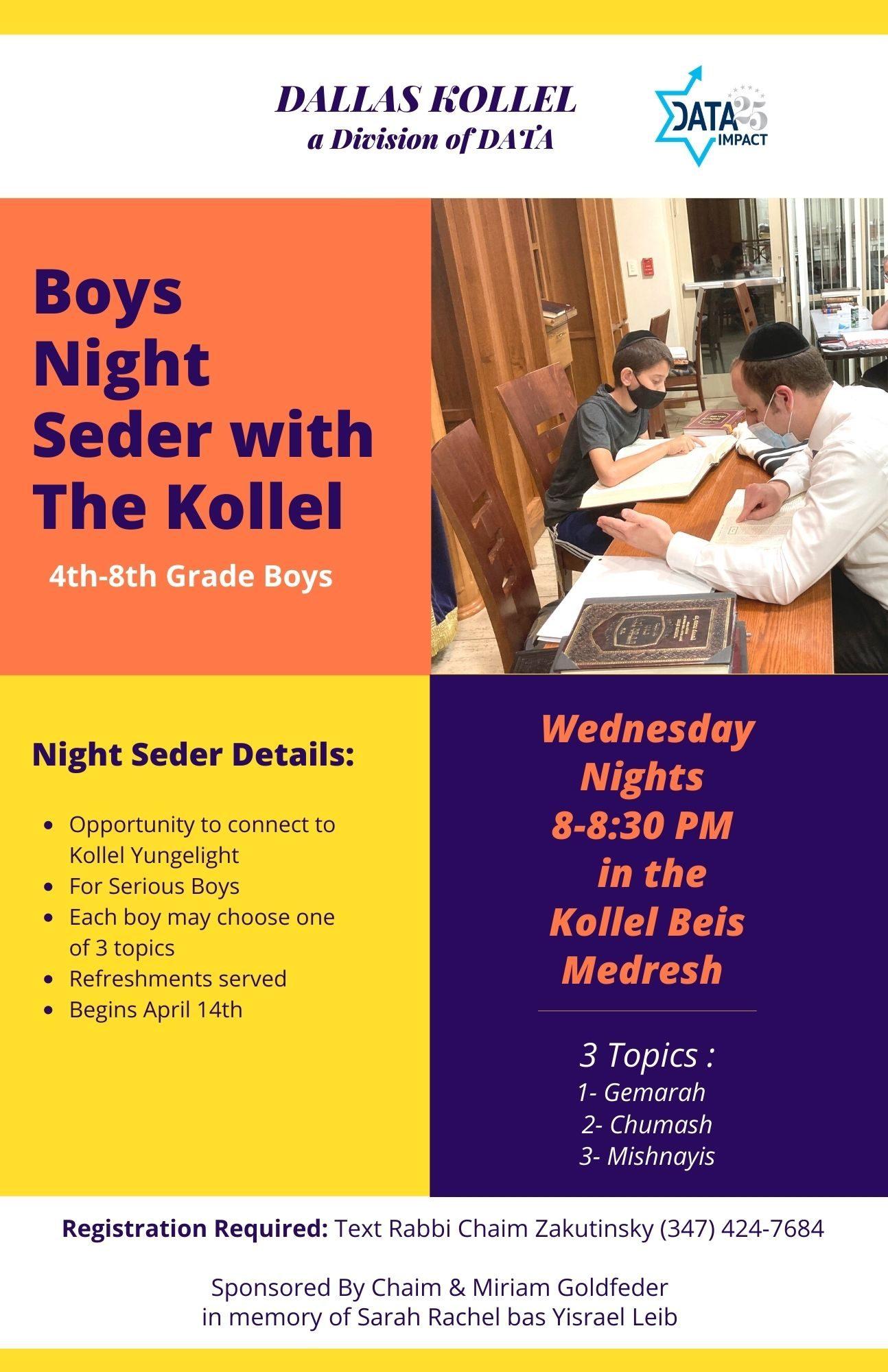 Boys Night Seder with the Kollel 1