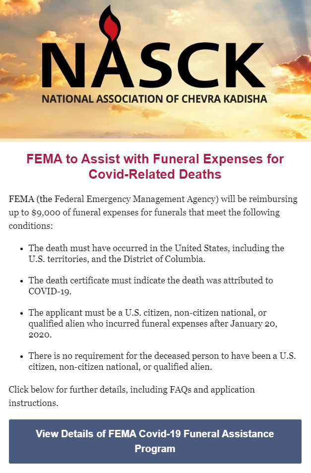 NASCK: FEMA to Assist with Funeral Expenses for Covid-Related Deaths 1