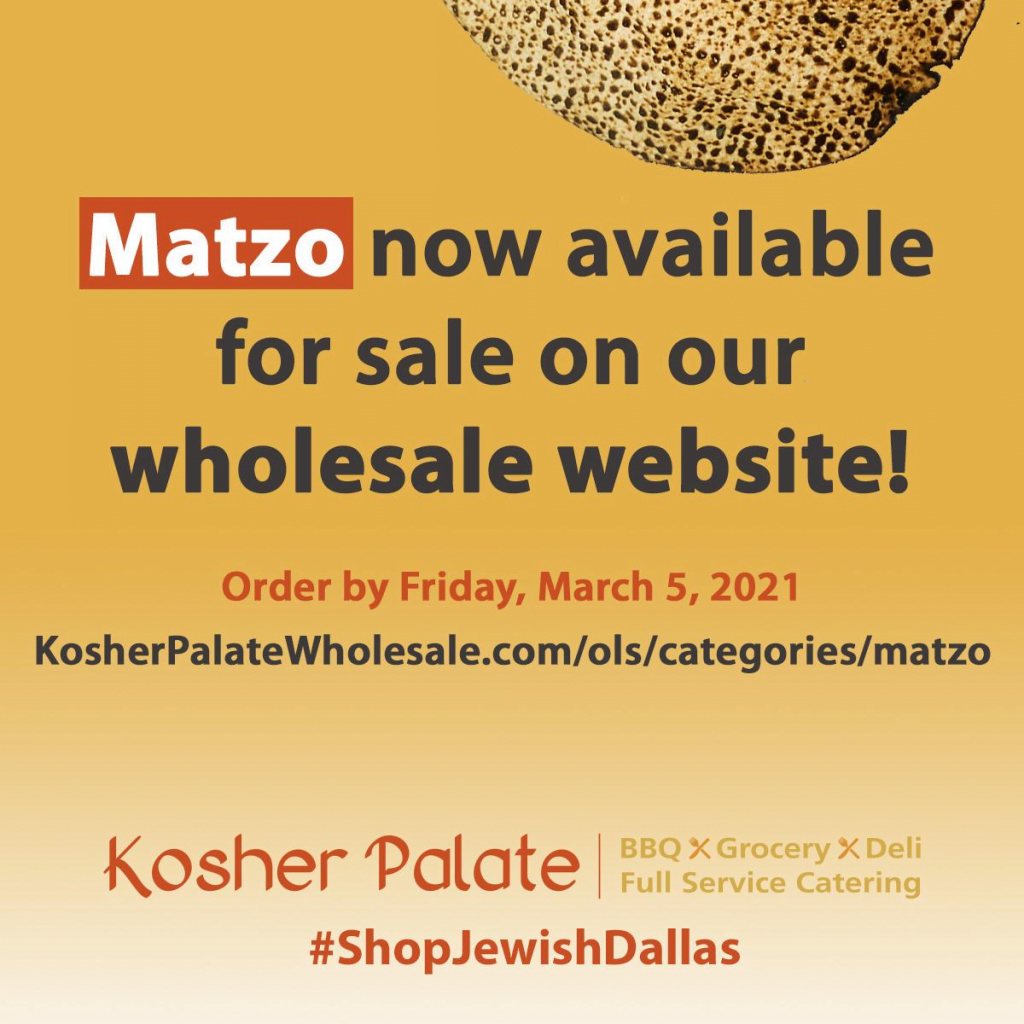 Matzo Order Due Friday, March 5, 2021 1