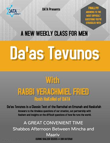 Da'as Tevunos: A New Weekly Shiur for Men by Rabbi Yerachmiel D. Fried, DATA Rosh HaKollel 11