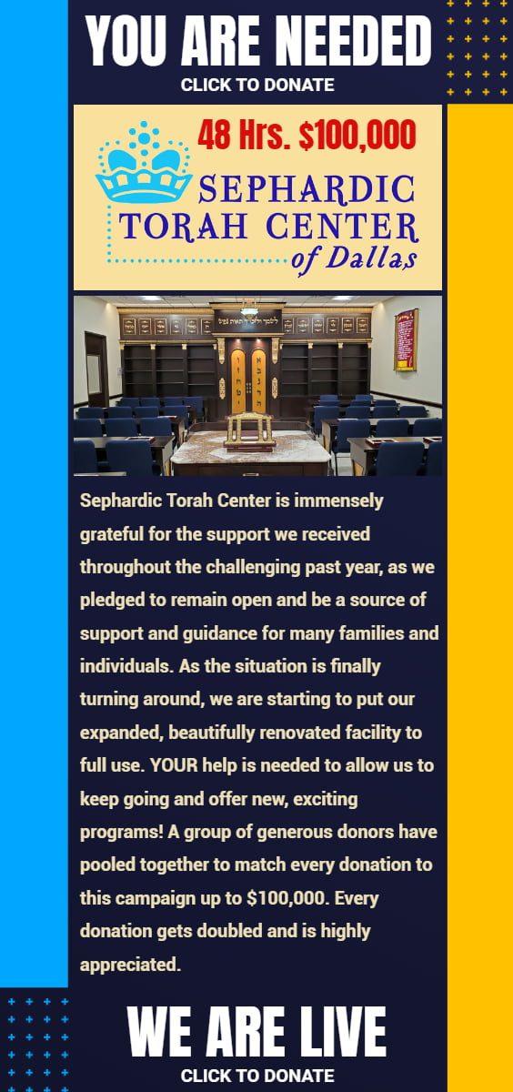 48 Hours, $100,000 for Sephardic Torah Center of Dallas 1