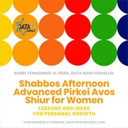Shabbos Afternoon Advanced Pirkei Avos Shiur for Women 9