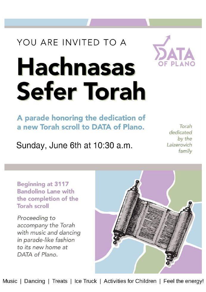 Hachnasas Sefer Torah at DATA of Plano 1