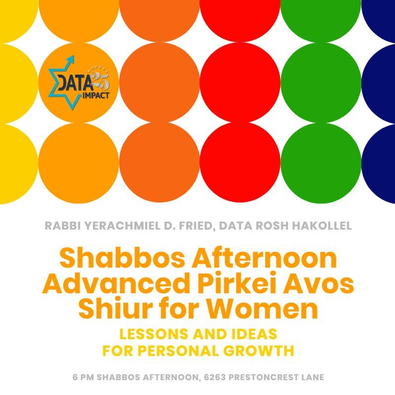 Updated Time: Shabbos Afternoon Advanced Pirkei Avos Shiur for Women with Rabbi Yerachmiel D. Fried 1