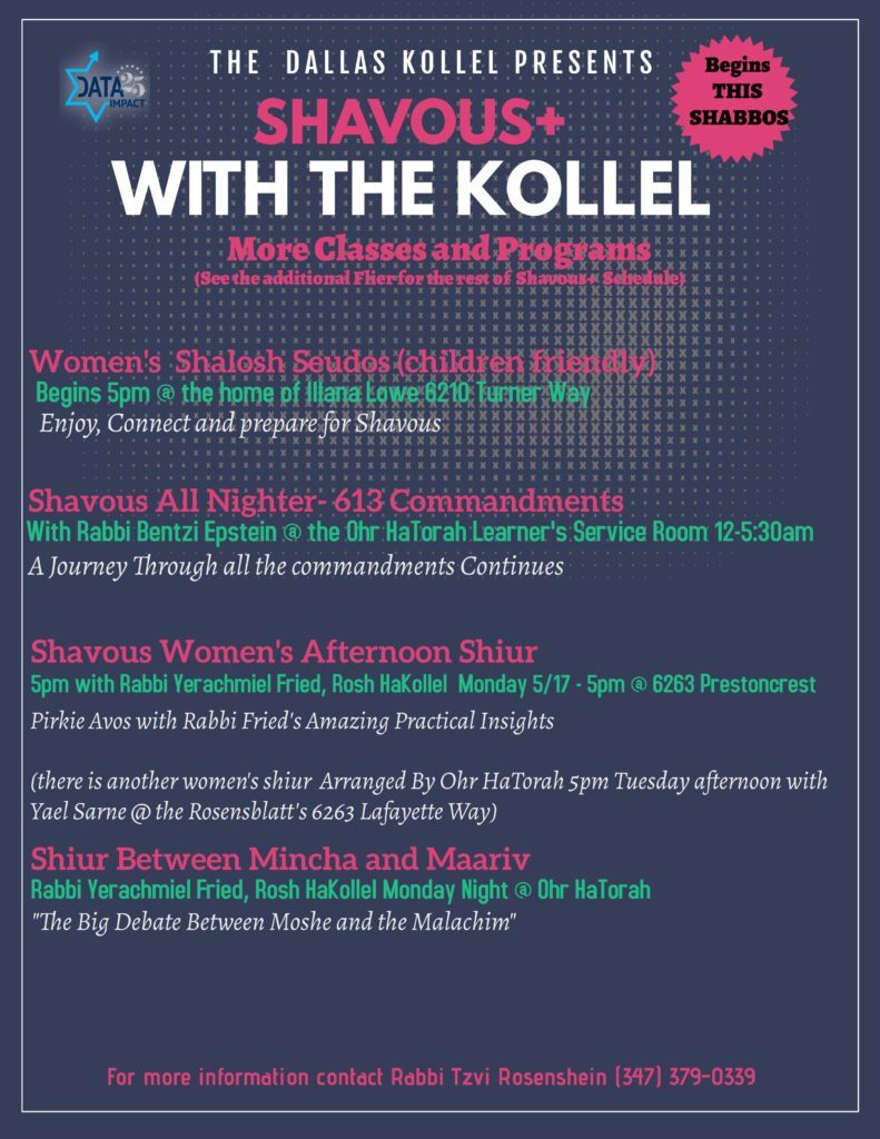 The Dallas Kollel Presents Shavuos+ with the Kollel 2
