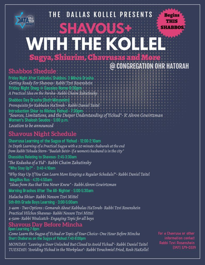 The Dallas Kollel Presents Shavuos+ with the Kollel 1