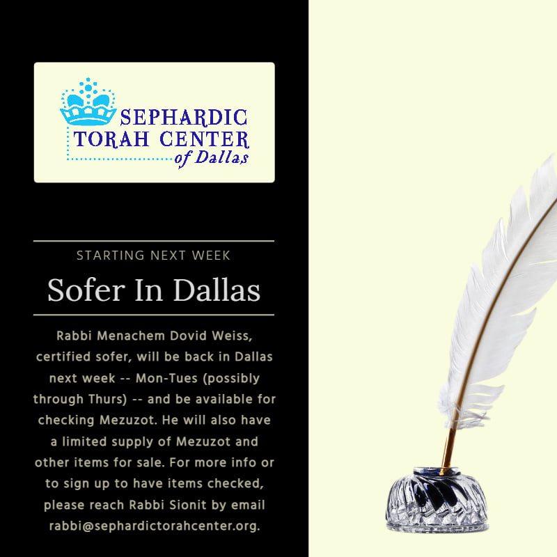 Sofer in Dallas Next Week 1