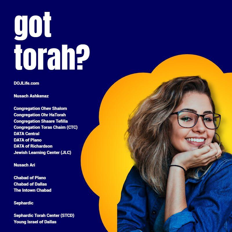 got torah? Shabbos Services & Women's Programming Resume Across DOJ Metroplex 1