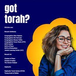 got torah? Shabbos Services & Women's Programming Resume Across DOJ Metroplex