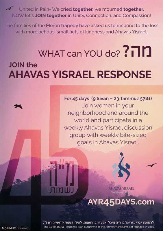 Join women worldwide in a 45 day initiative to increase your Ahavas Yisrael - love of fellow Jews. 1