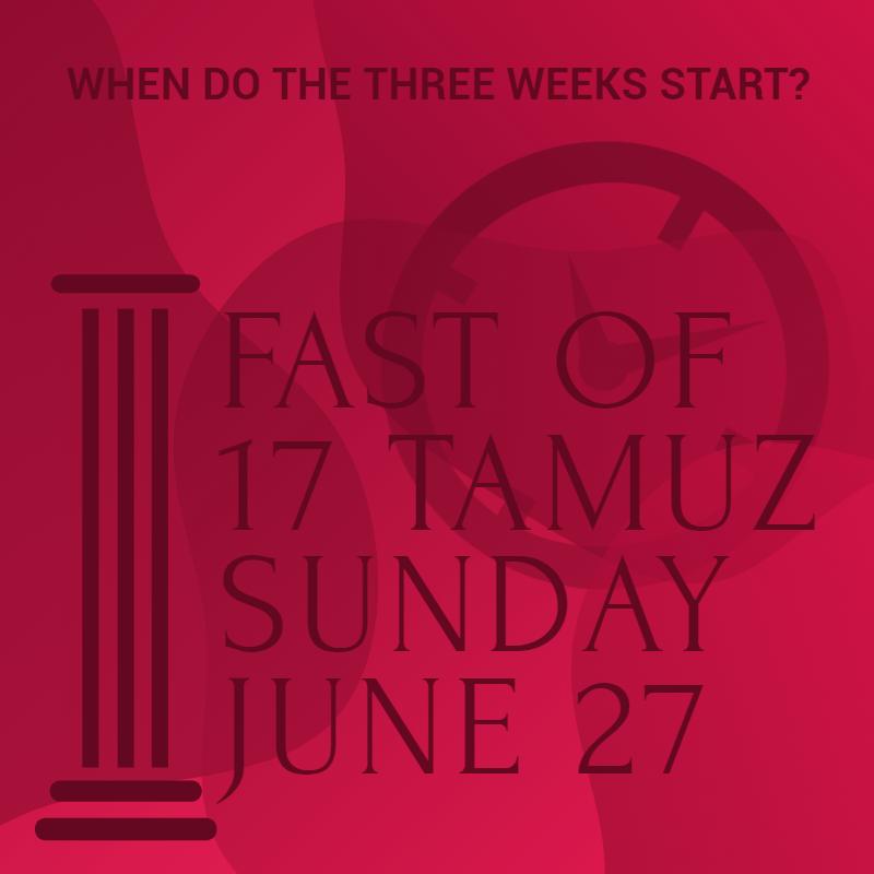 When do the Three Weeks start? By Rabbi Yehuda Spitz 1