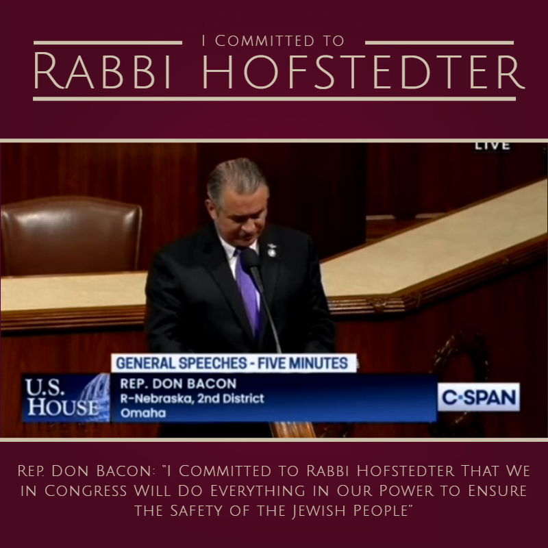 I Committed to Rabbi Hofstedter: Kiddush Hashem in Congress