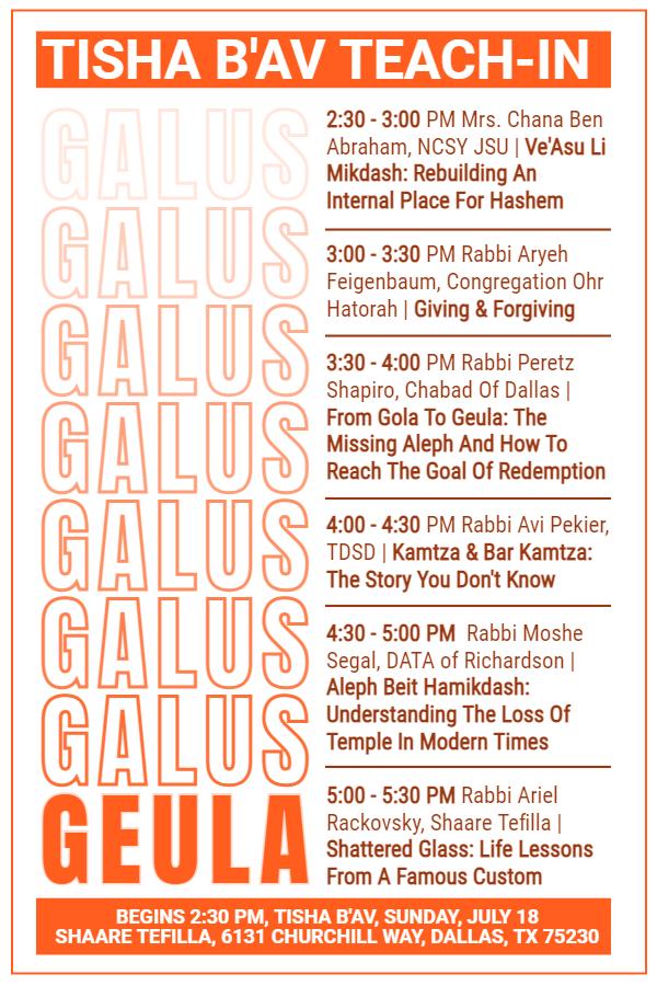 Tisha B'Av Teach-In, Begins 2:20 PM, Tisha B'Av, Sunday, July 18, Shaare Tefilla, 6131 Churchill Way, Dallas, Texas 75230
