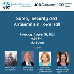 Town Hall on Safety, Security and Antisemitism: August 31, 6:30 pm via Zoom
