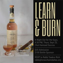 Learn & Burn in the Succah: A Night Out for the Guys