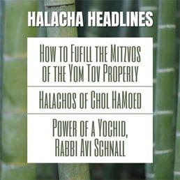 Halacha Headlines: Sukkos II – How to Fufill the Mitzvos of the Yom Tov Properly (Sukkah, Lulav & Esrog, Simcha) – The Halachos of Chol Hamoed ; The Power of a Yochid, Rabbi Avi Schnall