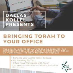 Dallas Kollel Presents: Bringing Torah To Your Office