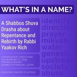What's In A Name: Shabbos Shuva Drasha